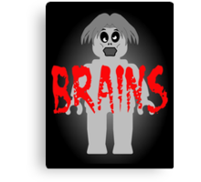 """Zombie Minifig """"BRAINS"""", by Customize My Minifig Canvas Print"""