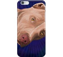 Red Nose Pit Bull Painted on Blue Background iPhone Case/Skin