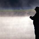  Trout Fisherman by a Misty Lake by Michael Mill