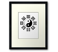 Yin & Yang, I Ching, Pure & simple, BLACK Framed Print
