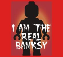 "Black Minifig with ""I am the Real Banksy"" slogan, Customize My Minifig Kids Clothes"