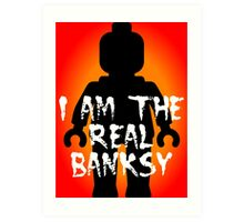 """Black Minifig with """"I am the Real Banksy"""" slogan, Customize My Minifig Art Print"""