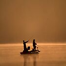 Two Friends Fishing by Michael Mill