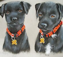 Cliff's terrier pups in pastel by Woodie