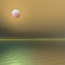 3d red moon rising seascape by pelmof
