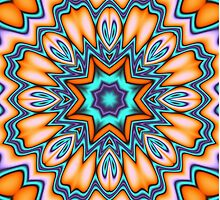 Decorative Sunshine Kaleidoscope Flower by walstraasart