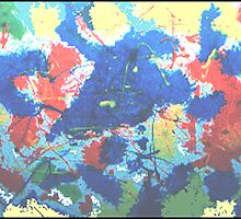 ABSTRACT-BLUE BULL WITH A YELLOW EYE by JOHNNYC