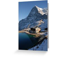 Eiger north face with small lake. Greeting Card