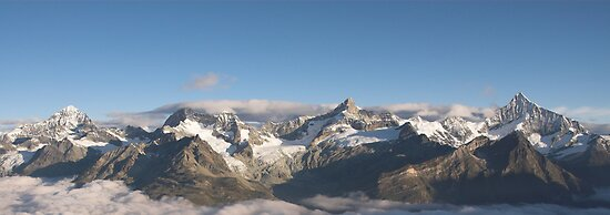 Mountain range above Zermatt in the morning. by peterwey