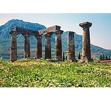 Towards the Acrocorinth, with Temple of Apollo Photographic Print