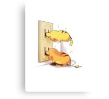 pikachu and raichu in a plug lol Canvas Print