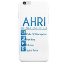 Champion Ahri Skill Set In Blue iPhone Case/Skin