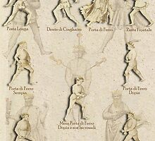 """Grappling and Dagger Positions"" Fiore dei Liberi ""Getty"" by Tracy Mellow"