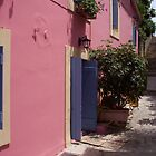 pink house in greece by sarahcro123