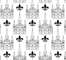 St. Louis Cathedral Pattern (Black) by StudioBlack