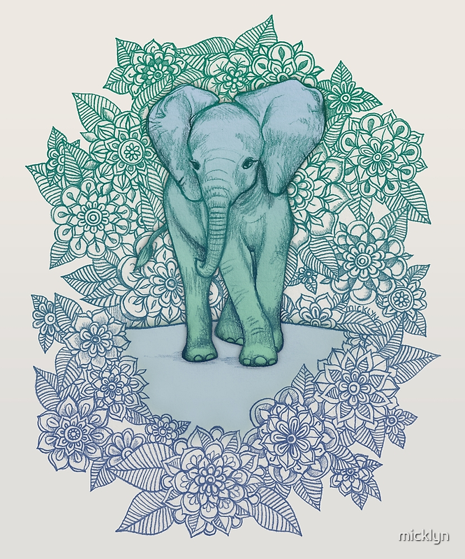 Emerald Elephant in the Lilac Evening by micklyn