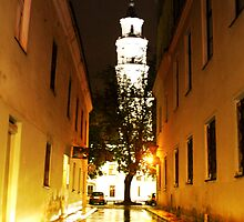Night in the Old town Kaunas by Antanas