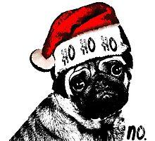 Christmas Pug Ho Ho No Photographic Print