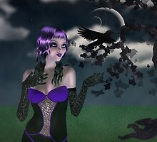 Girl in forest at night 2 by AnnArtshock