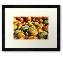 Colorful pumpkins for Halloween Scary Jack Framed Print
