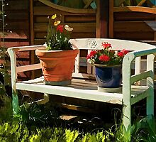 Garden bench with flowers by Ron Zmiri