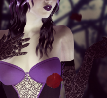 Gothic girl with rose petals Sticker