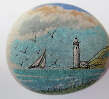 Seascape with lighthouse on pebble by pkr14