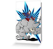 Spider-man riding Rhino Greeting Card