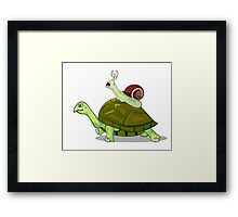 Frightened Snail Hitches a Ride Framed Print