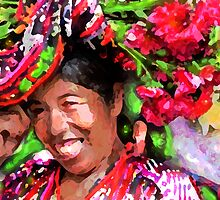MAYAN WOMAN SELLING FLOWERS IN THE MERCADO IN LAGO ATITILAN, GUATEMALA by miguel