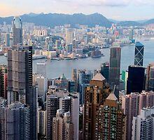 HK Panorama at Sunset VI - Hong Kong. by Tiffany Lenoir