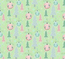 Christmas green pattern by JuliaBadeeva