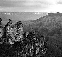 The Three Sisters Katoomba NSW in Black & White by Ben Shaw