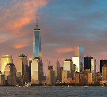 Panoramic of Downtown Manhattan by Randy  Le'Moine