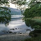 Marj beside Lake Grasmere Lake District England 198405200036  by Fred Mitchell