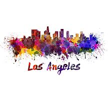 Los Angeles skyline in watercolor Photographic Print