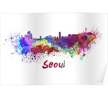 Seoul skyline in watercolor Poster