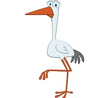 Adorable cartoon stork by berlinrob
