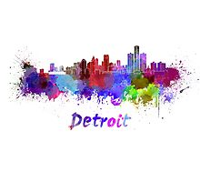 Detroit skyline in watercolor Photographic Print