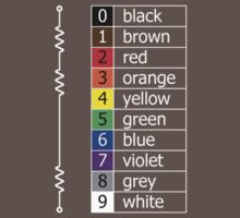 resistor colour codes on black and dark colours Kids Clothes