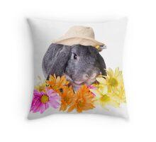 Country Gardener Rabbit Throw Pillow