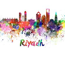 Riyadh skyline in watercolor by paulrommer