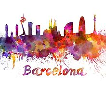 Barcelona skyline in watercolor by paulrommer