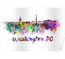 Washington DC skyline in watercolor Poster
