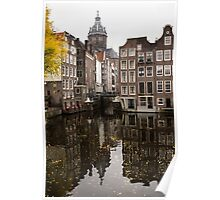 Amsterdam - Reflecting on Autumn Canal Houses Poster