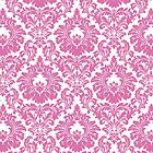 Retro Fleur De Lis Wallpaper Design in Candy Pink by Helen McLean