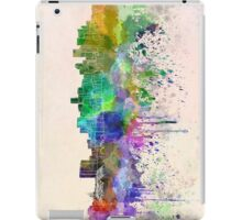 Denver skyline in watercolor background iPad Case/Skin