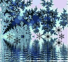 Winter lake with snowflakes by walstraasart