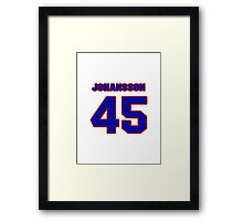 National Hockey player Jonas Johansson jersey 45 Framed Print