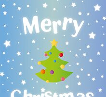 Merry Christmas blue background card with green tree by vinainna